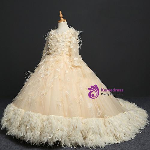 Yellow ball gown long sleeve tulle flower girl dress mightylinksfo
