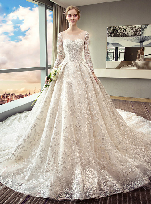 White ball gown long sleeve lace backless wedding dress junglespirit Choice Image