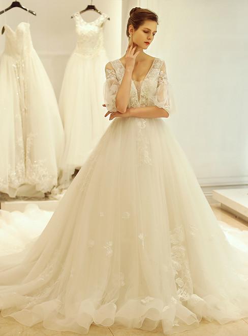 In Stock:Ship in 48 hours V-neck Backless Half Sleeve Wedding Dress