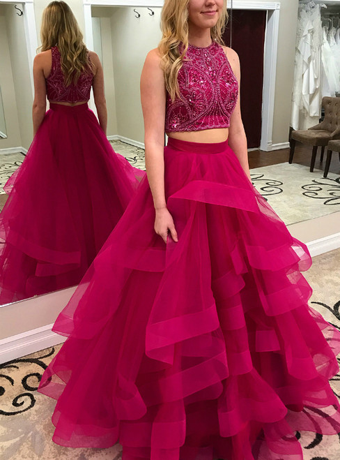 Two Pieces Princess Style Sweet 16 Tulle Pageant Prom Dresses