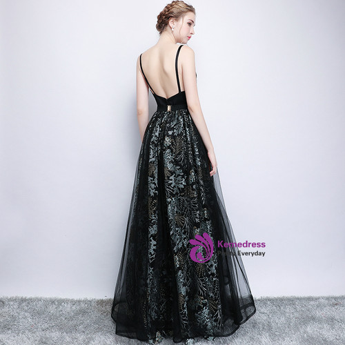 In Stock:Ship in 48 hours Black Straps Print Backless Prom Dress