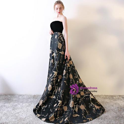 In Stock:Ship in 48 hours Black Strapless Satin Print Prom Dress