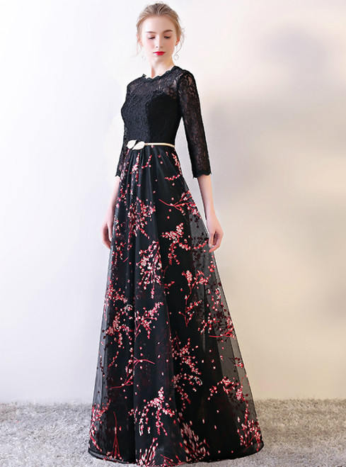 In Stock:Ship in 48 hours Black Lace Long Sleeve Print Prom Dress