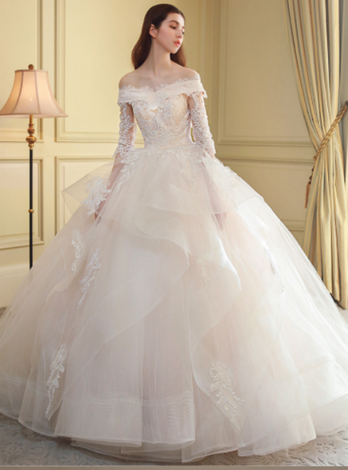 Ball Gown Tulle Off The Shoulder Short Sleeve Wedding Dress