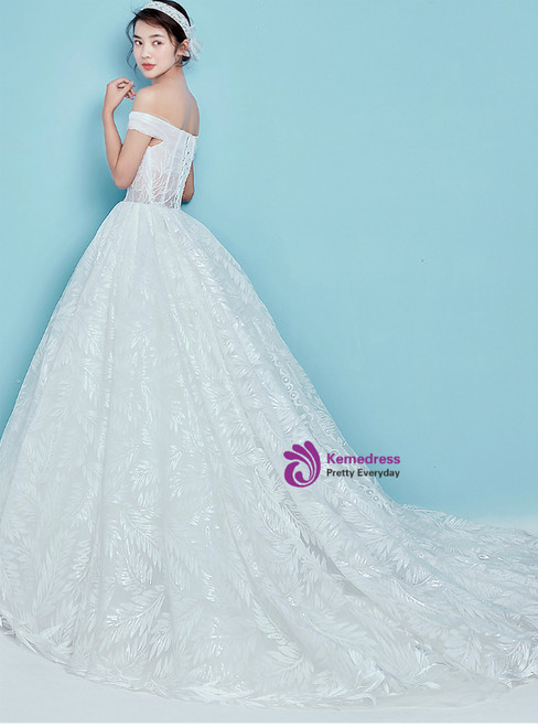 White Ball Gown Tulle Off The Shoulder Backless Wedding Dress