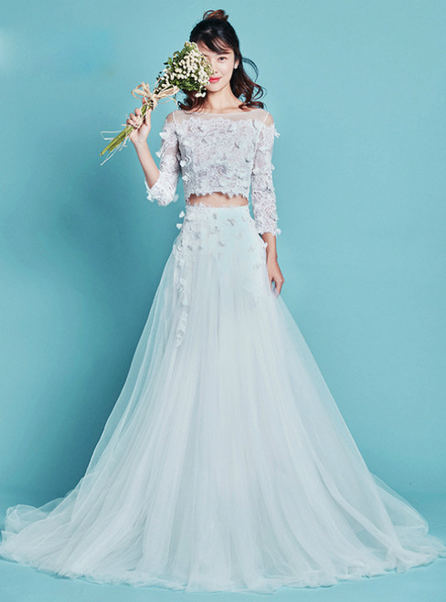 White Two Piece Tulle Long Sleeve Appliques Wedding Dress