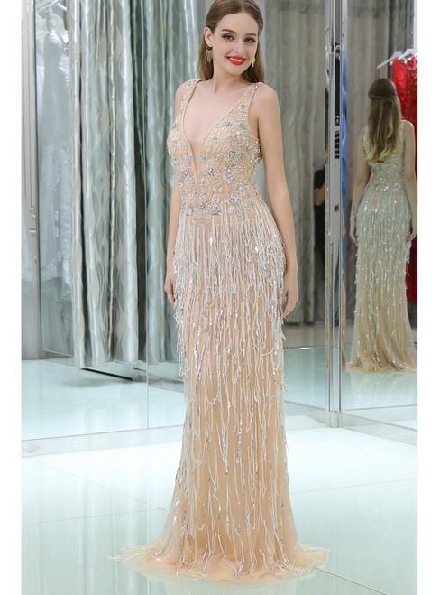 Mermaid Silver Tulle Sequins Long Sleeve Bling Bling Prom Dress ...