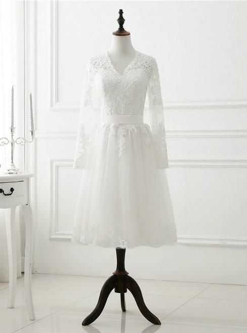 Vintage White Short Wedding Dress Long Sleeve Lace Tulle