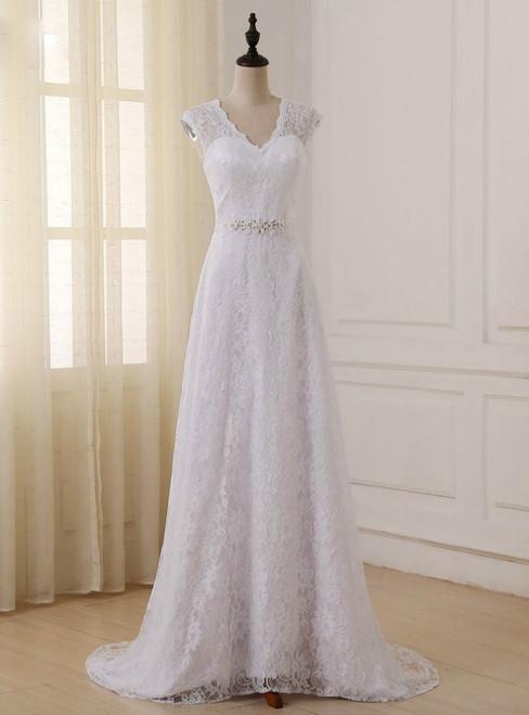 Cap Sleeve V-neck A-line Lace Beaded Sashes Wedding Dress