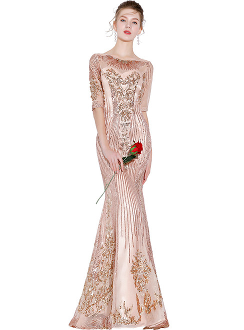 In Stock:Ship in 48 hours Mermaid Pink Sequins Prom Dress