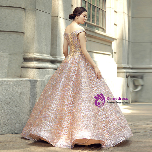Ball Gown Off The Shoulder Sequins Wedding Dress