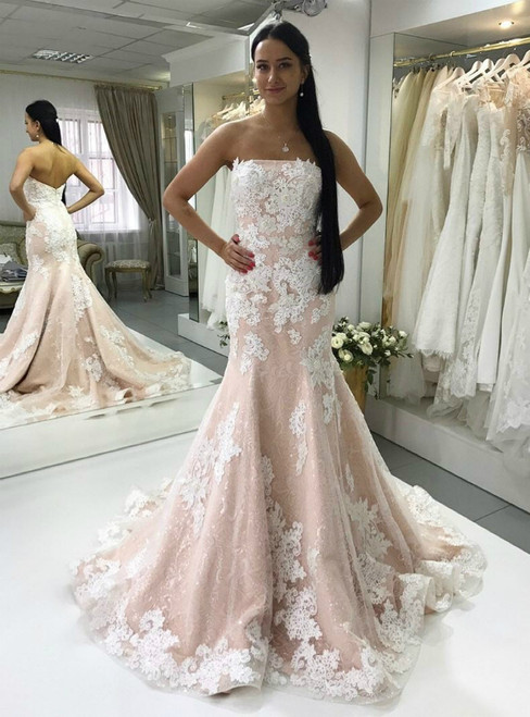 Mermaid Strapless Lace Appliques Tulle Wedding Dresses