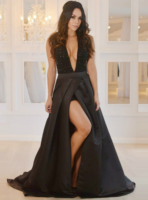 A-Line Deep V-Neck Backless Black Satin Beading Prom Dress