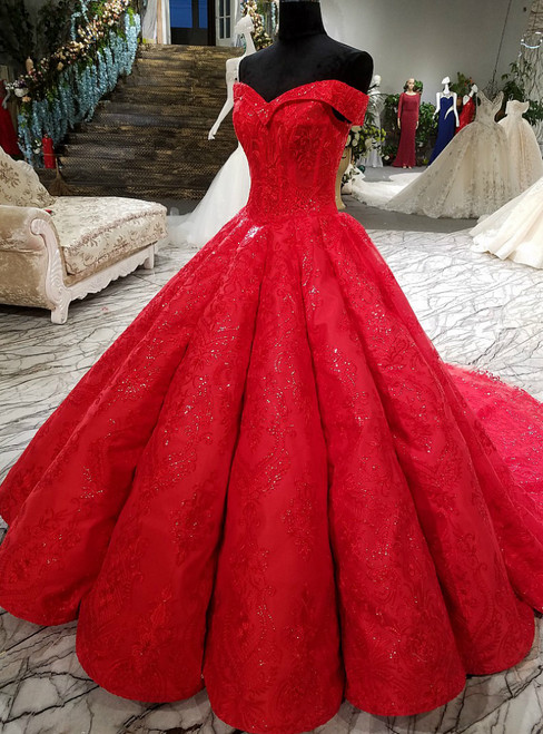 Red Ball Gown Off The Shoulder Lace Sequins Train Wedding Dress