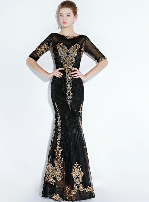 In Stock:Ship in 48 hours Black Mermaid Short Sleeve Prom Dress