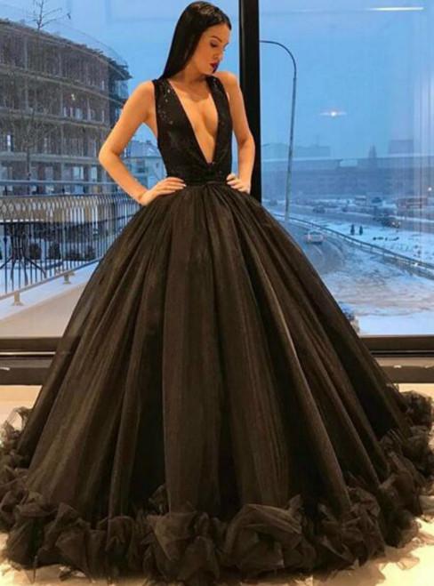 Black Ball Gown Tulle Deep V-neck Sleeveless Prom Dress