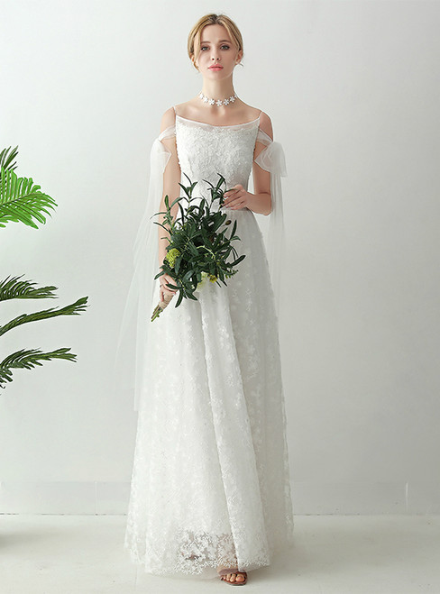In Stock:Ship in 48 hours White Lace Spaghetti Straps Wedding Dress
