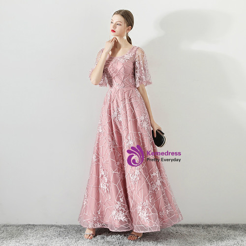 In Stock:Ship in 48 hours Pink Tulle Backless Floor Length Prom Dress