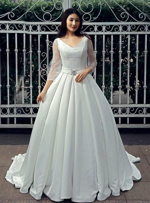 White satin v neck backless lace long sleeve wedding dress junglespirit Images
