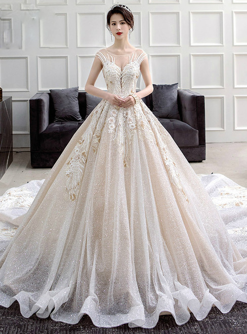 Ivory Ball Gown Sequins Backless Long Train Appliques Wedding Dress
