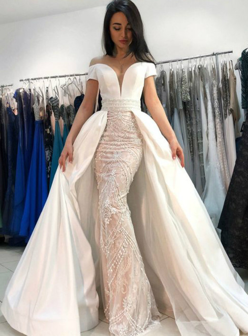Mermaid Off the Shoulder Short Sleeves With Beading Wedding Dress