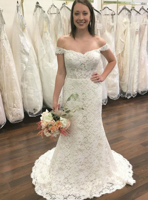 White Lace Mermaid Off The Shoulder Backless Wedding Dress