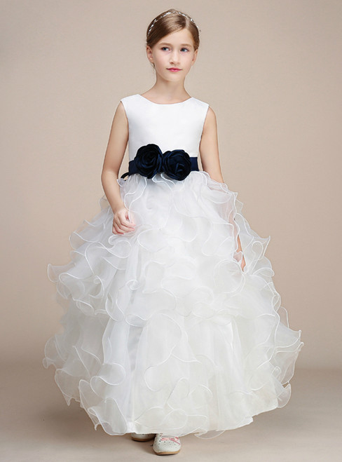 White Ball Gown Organza Ankle Length Flower Girl Dress With Sash
