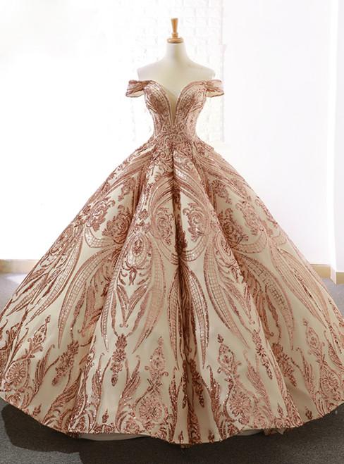 Luxury Gold Sequins Ball Gown Off The Shoulder Wedding Dress - Kemedress