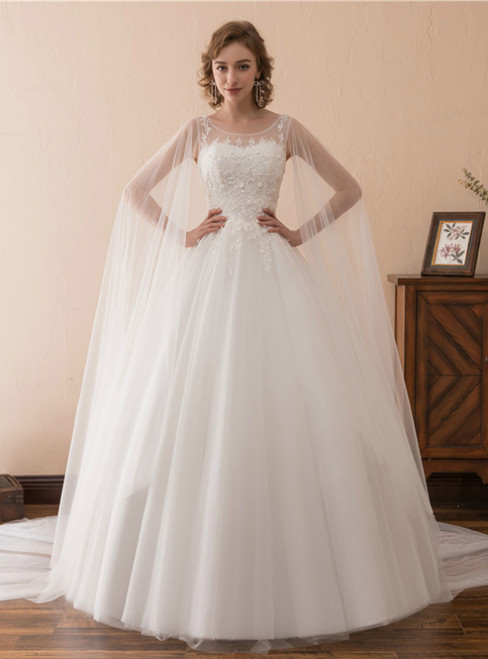 White Tulle Lace Appliques Backless Sleeveless Wedding Dress