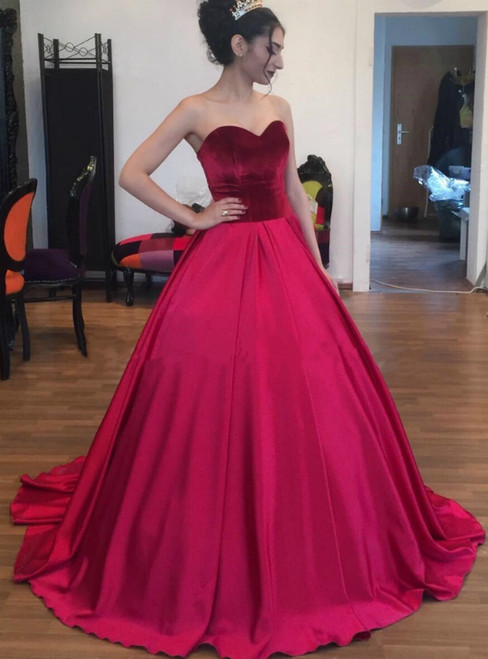 Burgundy Ball Gown Satin Sweetheart Neck Quinceanera Dresses