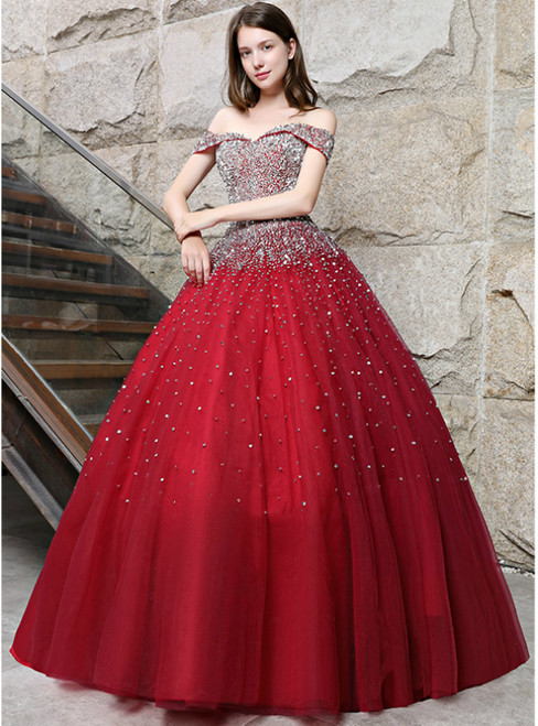 Burgundy Ball Gown Tulle Off The Shoulder With Sequins Quinceanera ...
