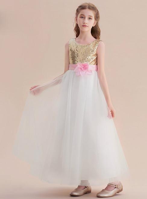 Cheap flower girl dresses online cheap ivory flower girls dresses a line white tulle gold sequins long flower girl dress with flower mightylinksfo
