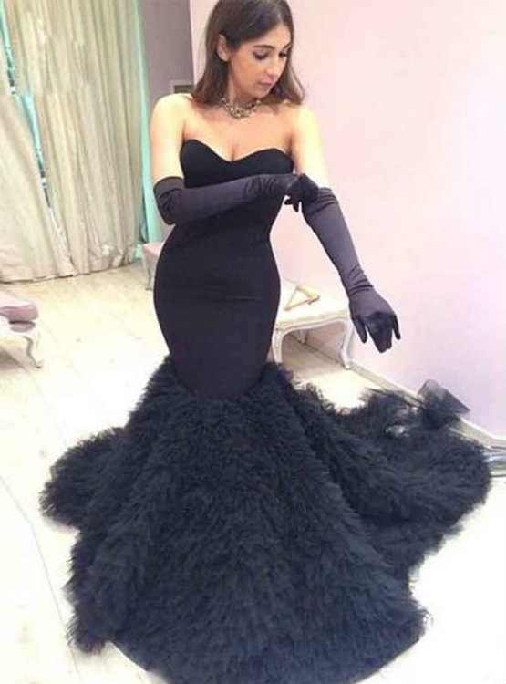 Sweetheart Black Mermaid Wedding dresses Tulle elegant Bridal Gowns