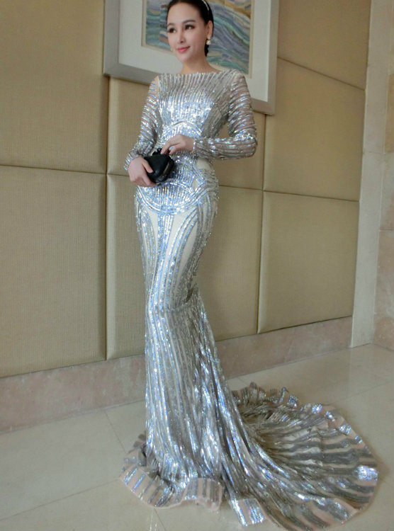 Luxury Silver Mermaid Prom Dresses Long Sleeve Sheer Neck Sequins ...