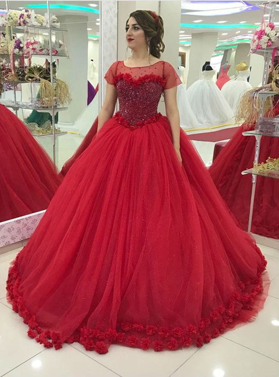 2018 Embroidery Flowers Edge Ball Gowns Bridal Dresses Corset Short ...