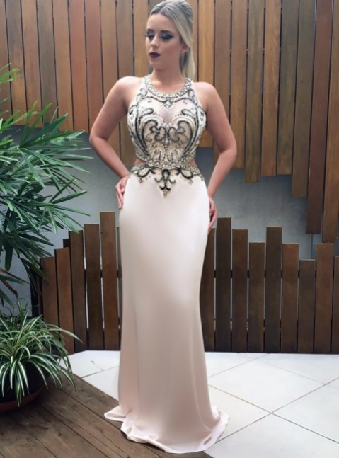 Champagne Mermaid Prom Dresses With Backless Beading Evening Gowns ...
