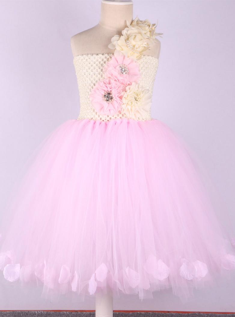 Pink Princess Flower Girl Dresses Wedding Ball Gowns Rose Petals