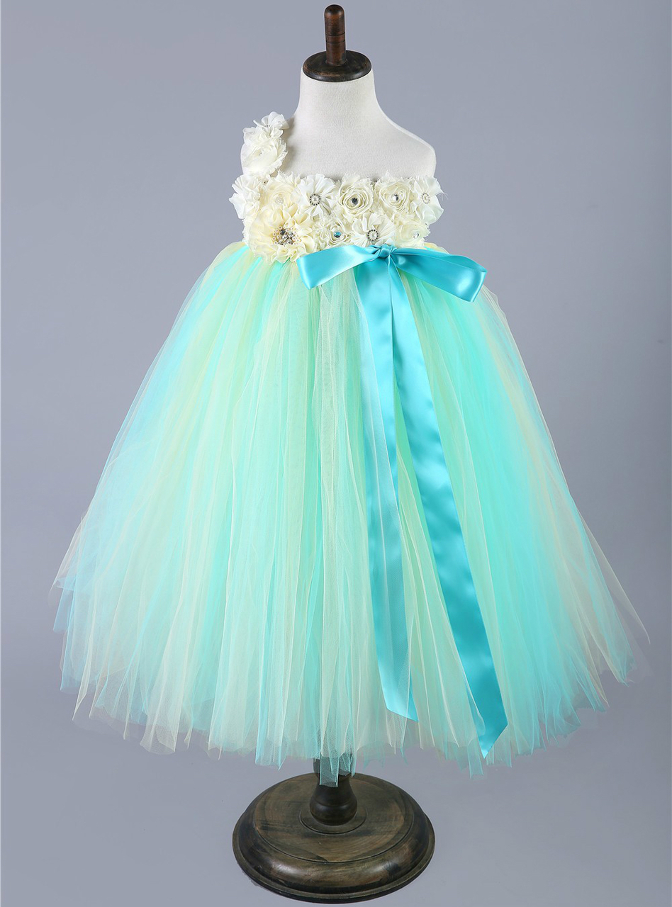 Pink Green Baby Girls Tulle Dress Children Pageant Party Wedding ...