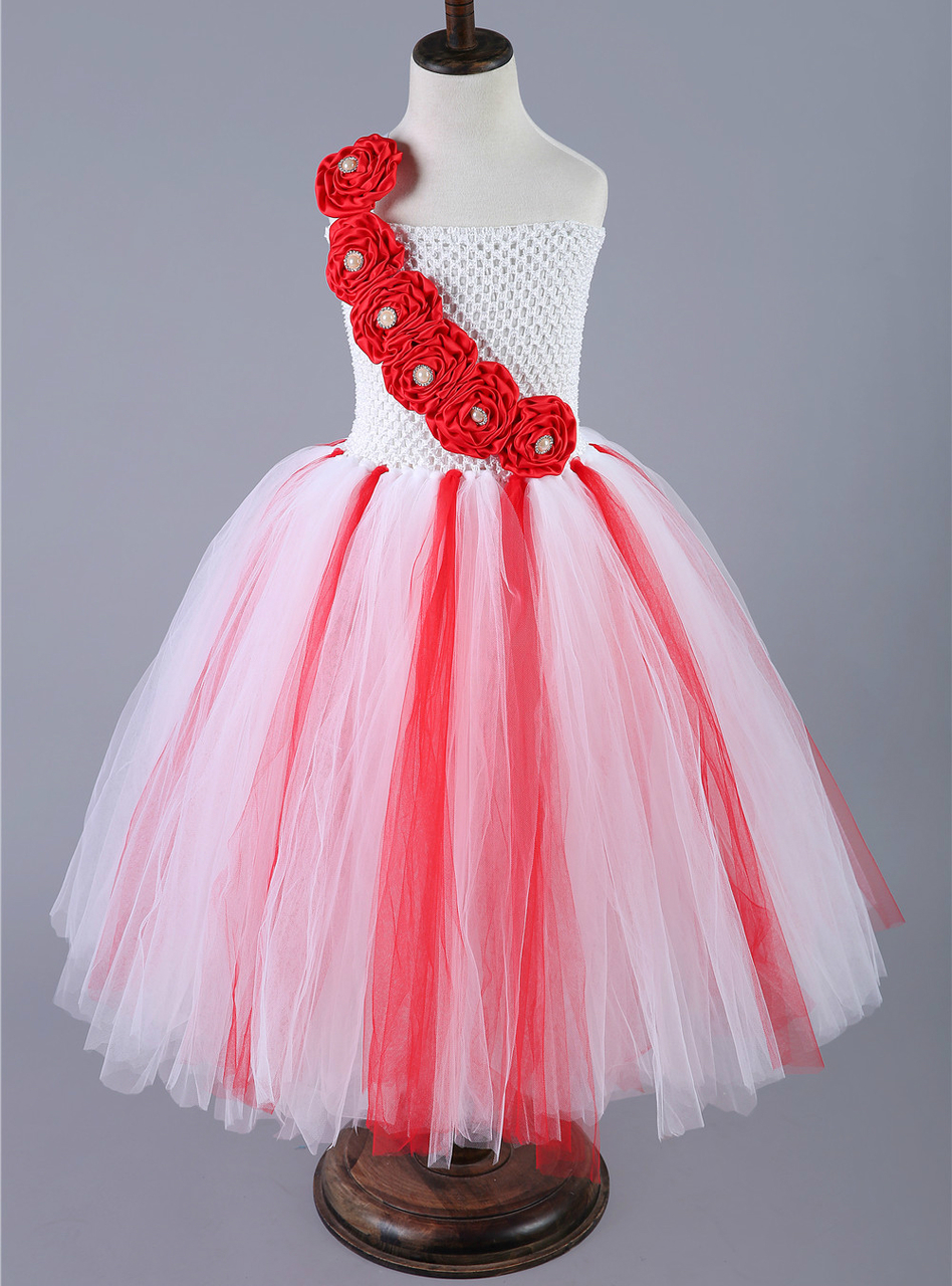 Girls Christmas Dress Red White Flower Girl Tulle Children Wedding ...
