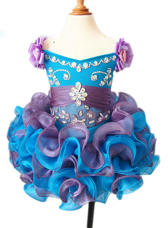 Cheap Ball Gown Cheap Puffy Organza Ruffles Kids Prom Gown Pageant ...