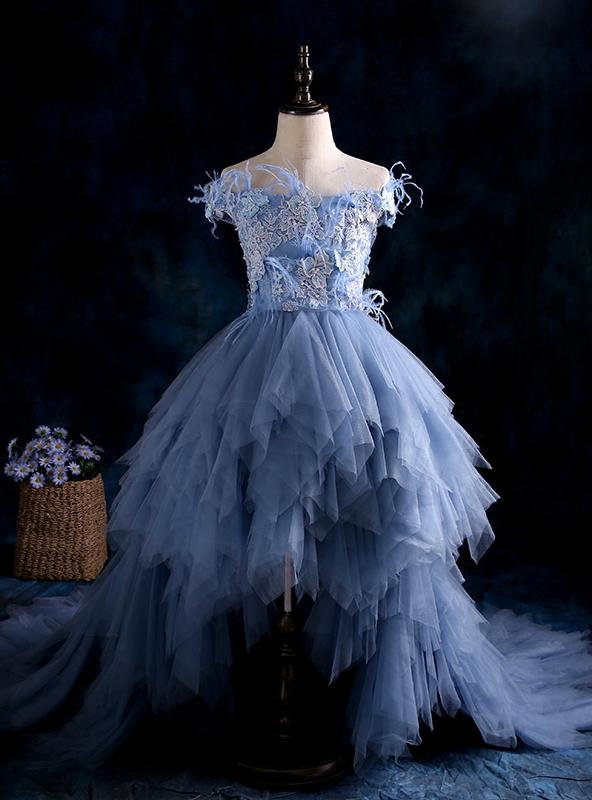 Blue High Low Ball Gown Tulle Flower Girl Dresses