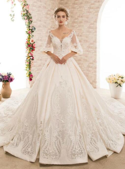 Ball Gown Open Back Satin Pregnant Women Wedding Dress