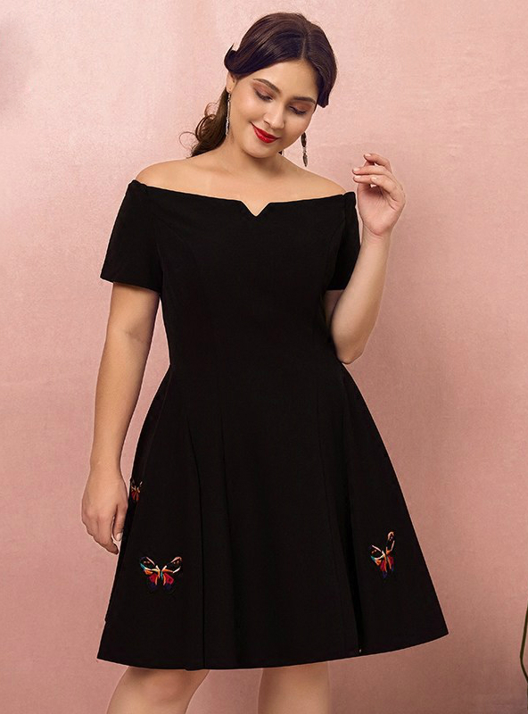 knee length black dress