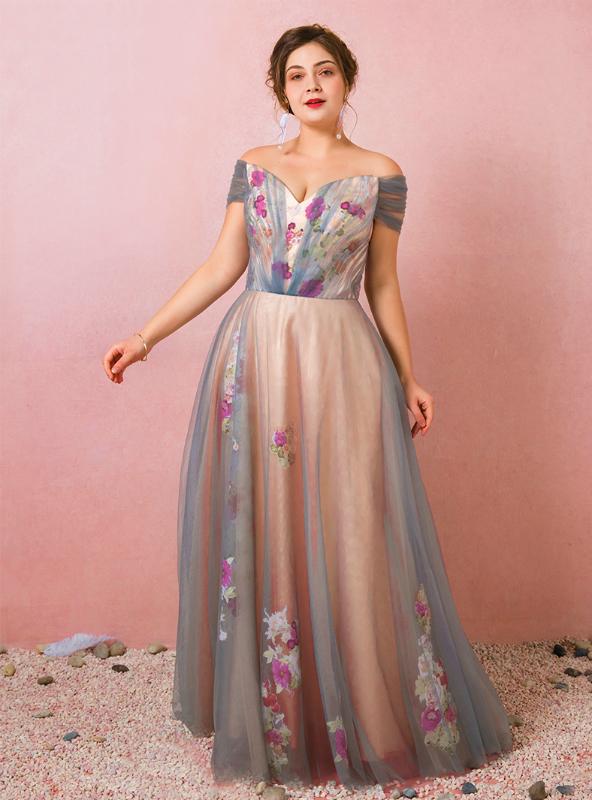 Plus Size Off The Shoulder Tulle Deep V-neck Prom Dress