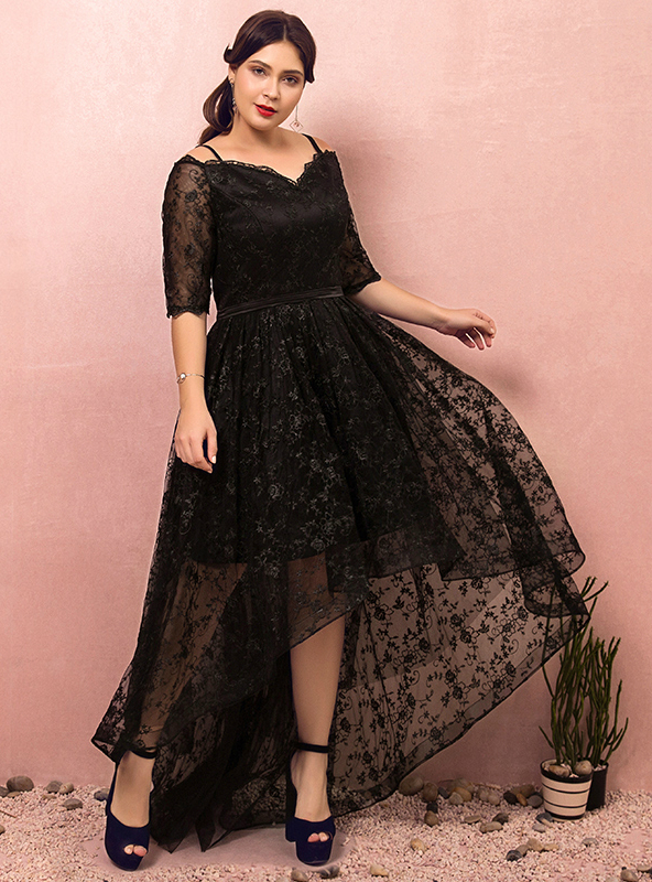 Plus Size Black Lace Hi lo Spaghetti Straps Prom Dress