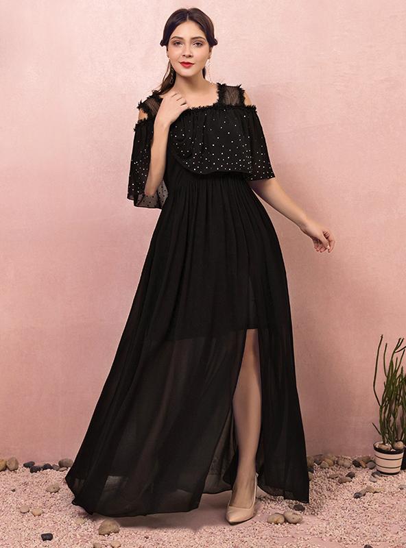 Fashion Plus Size Two Pieces Black Chiffon Prom Dress