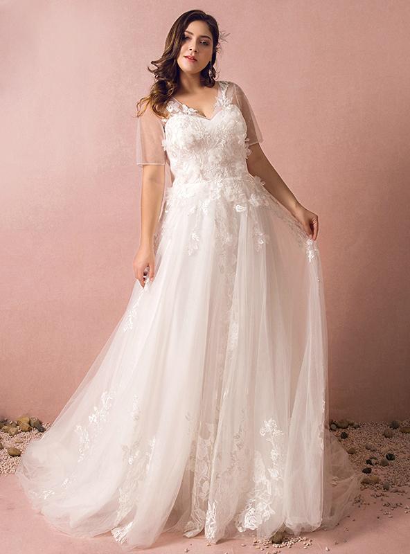 Plus size white tulle appliques short sleeve wedding dress junglespirit Images