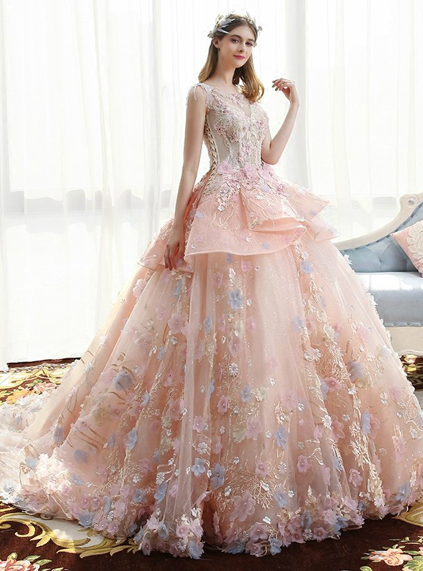 Haute Douture Pink Ball Gown Tulle Appliques Wedding Dress