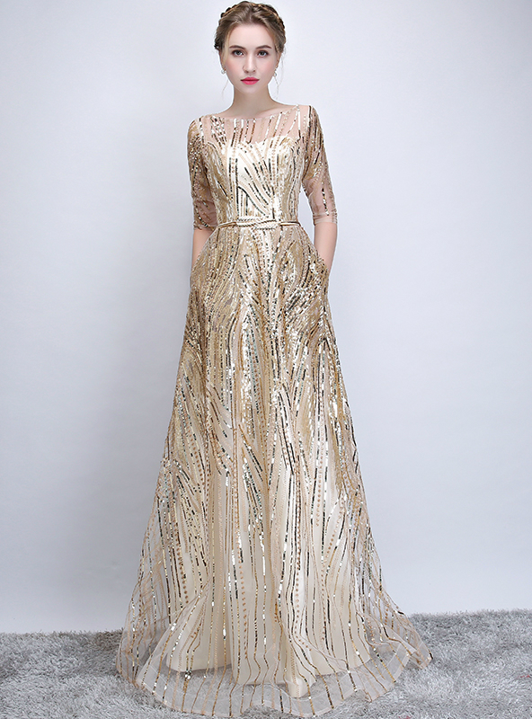 In Stock:Ship in 48 hours Gold Short Sleeve Sequins Prom Dress