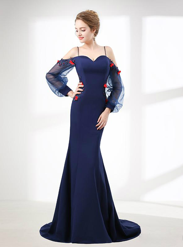 In Stock:Ship in 48 hours Blue Satin Strap Long Sleeve Prom Dress